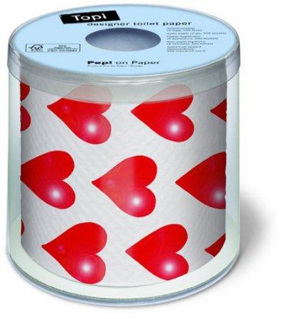 Bedrucktes Toilettenpapier - Hearts - 1 Rolle