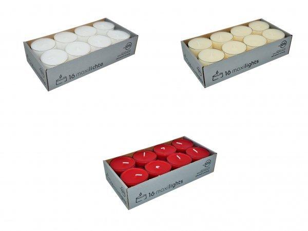 Maxi Teelichter in transparenter Hülle, 16er Box