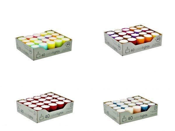 Teelichter in farbiger Hülle, 40er Box, Colorlights