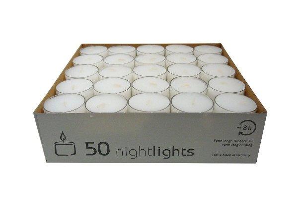Teelichter in transparenter Hülle, 50er Box, Nightlights