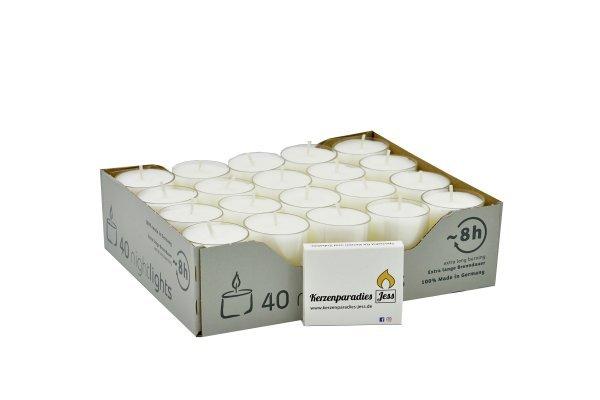Teelichter in transparenter Hülle, 40er Box, Nightlights, inkl. 1 Streichholzschachtel
